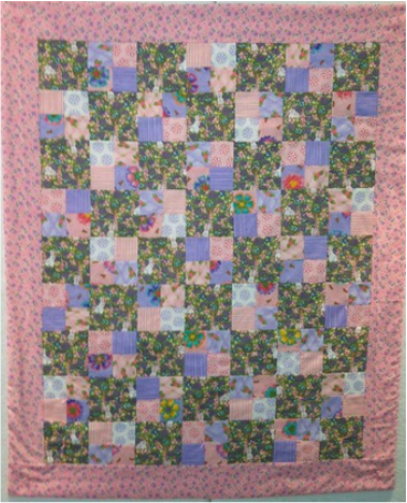 Bunny quilts it is made from easter and spring themed fabrics with a pink backing it is 38 x 44 and is suitable as a childs quilt wall quilt or lapwheelchair quilt negle Choice Image